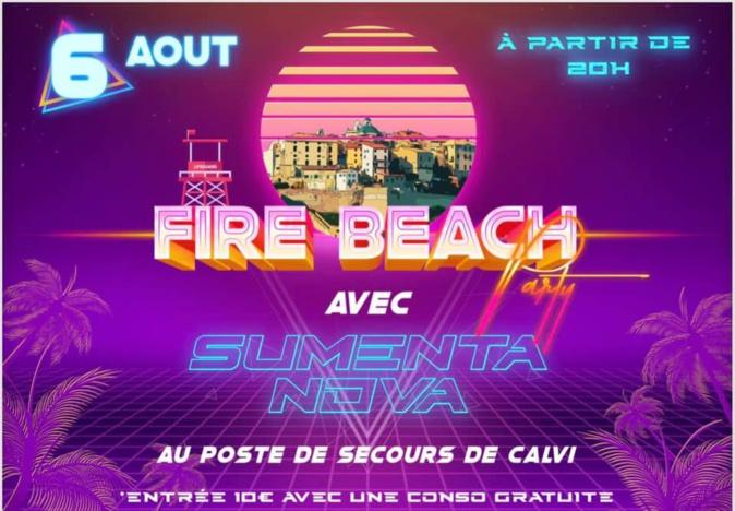 """Soirée """"Fire Beach"""" avec les pompiers au poste de secours de Calvi"""