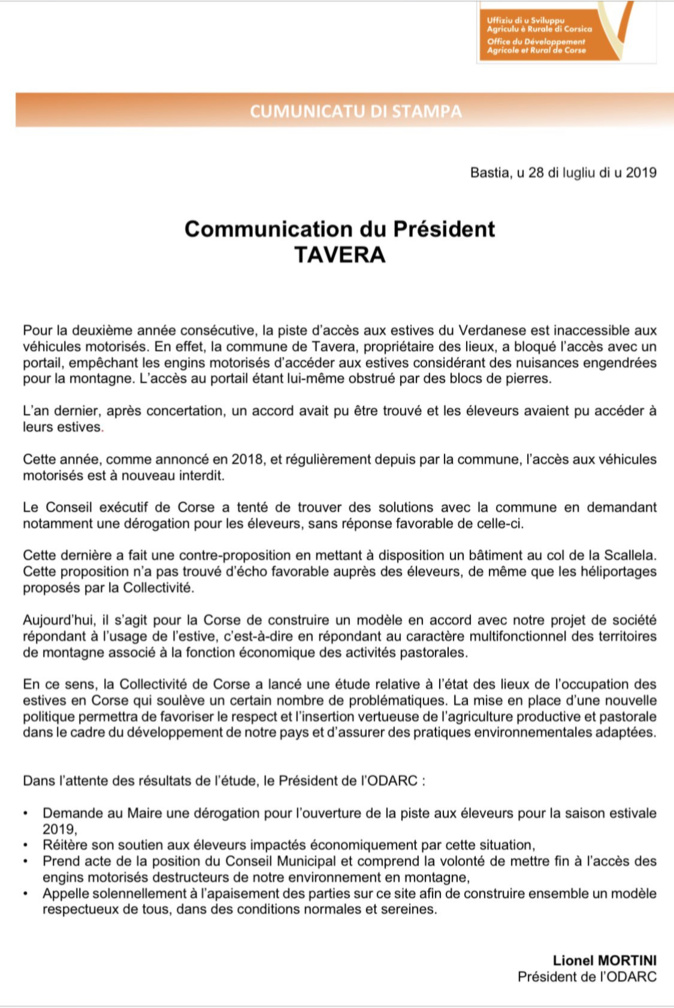 Blocage des estives de Tavera : le président de l'ODARC demande le déblocage et invite au dialogue