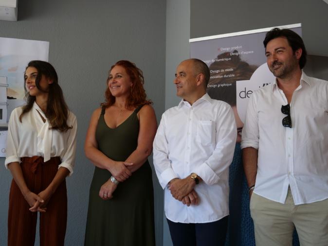 Claire Chinellato (prof référante), Katia Maiboroda (marraine de la promo), Jean-Louis Blaineau (directeur adjoint et associé) et Jean-Yves Jassois (architecte)