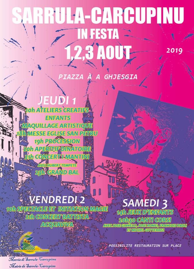Sarrula-Carcupinu in festa les 1, 2 et 3 août