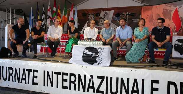 Les représentants de Corsica Libera, du PNC et de Femu a Corsica lors du débat consacré à la majorité territoriale. Photo Michel Luccioni.