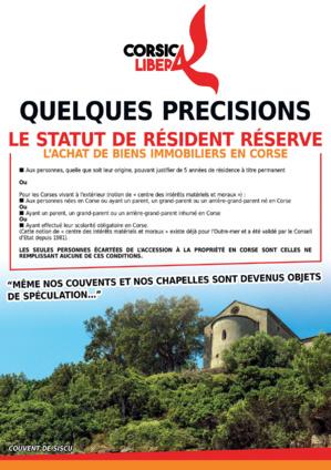 Statut de résident : Corsica Libera sensibilise à Bastia