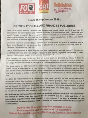 Les agents des finances publiques en grève, ce lundi, à Ajaccio