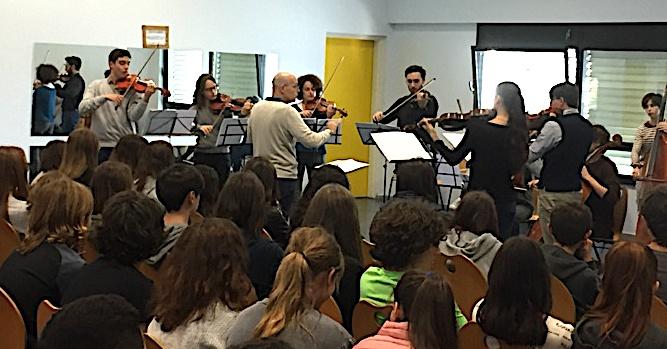 L'ensemble de cordes du conservatoire de Milan au collège de Montesoro à Bastia