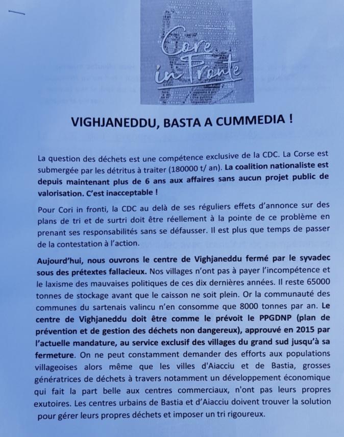 Crise de déchets : Core in Fronte débloque l'accès à Viggianello