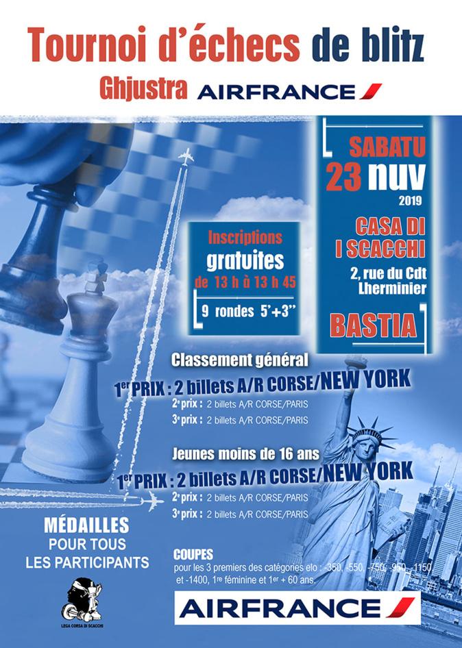 Des vols Corse-New York à gagner au Tournoi de Blitz Air France de Bastia