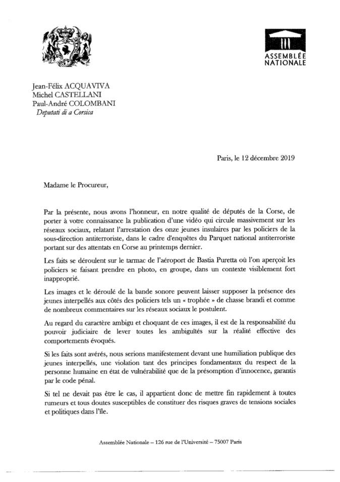 Vidéo du transfert des 10 interpellés à Paris : les trois députés nationalistes saisissent la Procureure de Bastia
