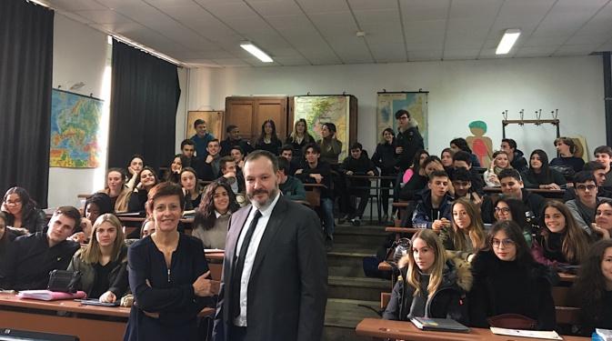 Nathalie Marcellesi, Thomas Piquereau et les élèves du lycée Fesch