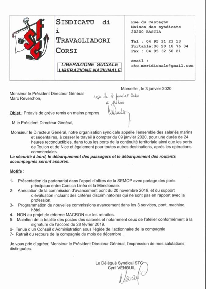 La Méridionale : préavis de grève du STC à compter du 9 janvier