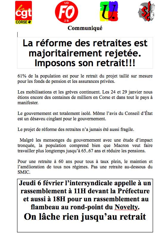 """Retraites : l'intersyndicale de la Haute-Corse appelle à une nouvelle """" journée de manifestation"""""""