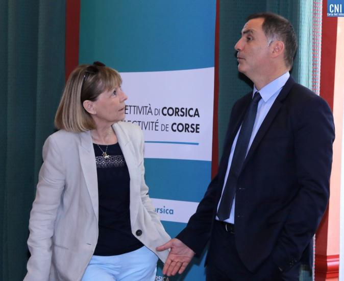 Gilles Simeoni, président de l'Exécutif de Corse, et Josiane Chevalier, ex-préfète de Corse. Photos Michel Luccioni.