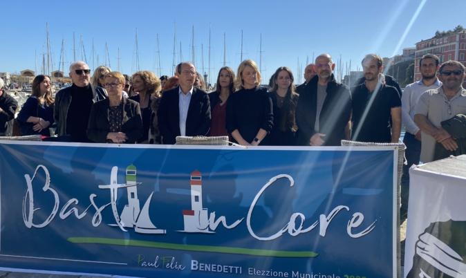 """Paul-Félix Benedetti et ses 42 colistiers se sont rassemblés sur le Vieux Port de Bastia pour présenter les noms qui composent la liste nationaliste """"Bastia in core""""."""