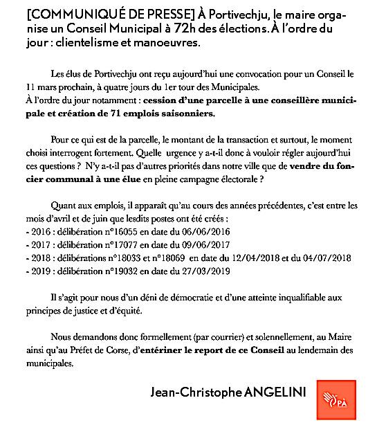 Porto-Vecchio : un conseil municipal le 11 Mars. Santini et Angelini demandent le report