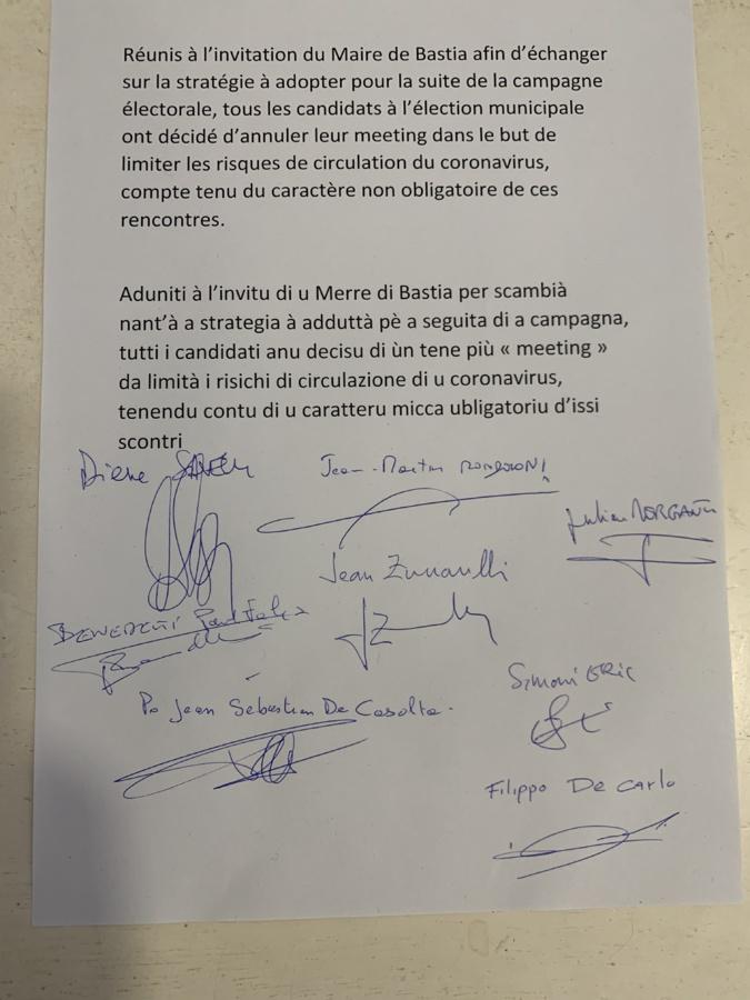 A Bastia les huit candidats annulent les meetings de campagne à cause du coronavirus