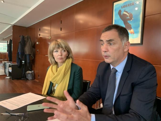 Bianca Fazi, conseillère exécutive en charge de la santé et du social, et Gilles Simeoni, président du Conseil exécutif de la Collectivité de Corse.