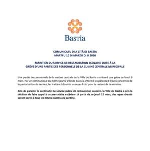 Grève à la cuisine centrale de Bastia : maintien du service de restauration scolaire