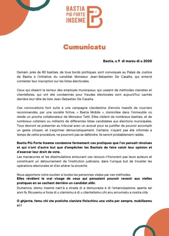 Municipales - Bastia : Polémique sur des demandes de radiation des listes électorales