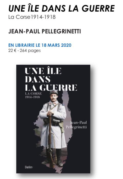 Livre : « Une île dans la guerre » de Jean-Paul Pellegrinetti en libraire le 24 mars