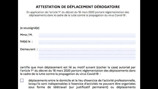 Coronavirus : pas de nouveau formulaire d'attestation dérogatoire de déplacement pour le moment