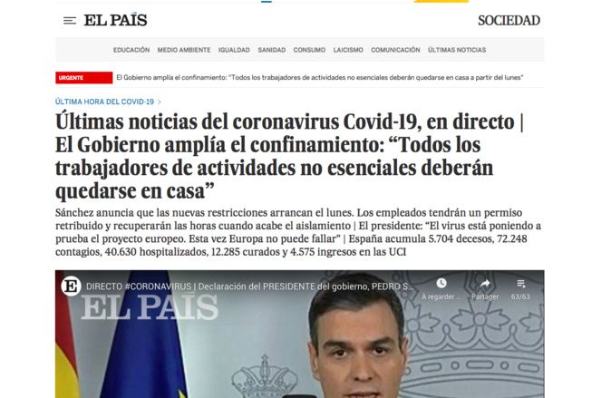 Covid-19. Après l'Italie, l'Espagne durcit le confinement