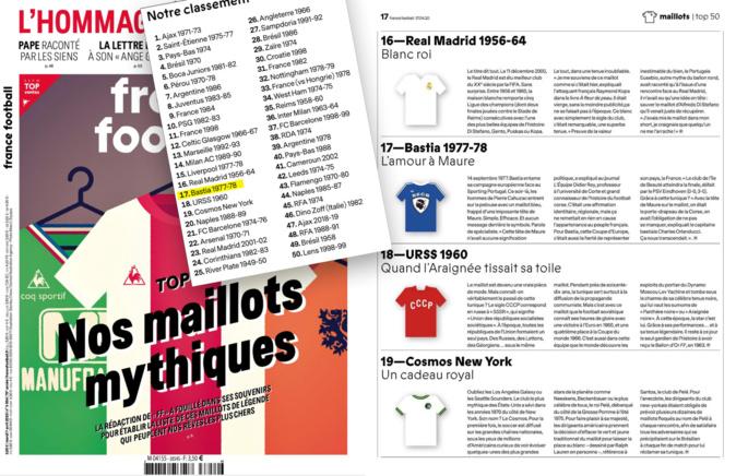 Couverture et page de l'hebdomadaire France Football