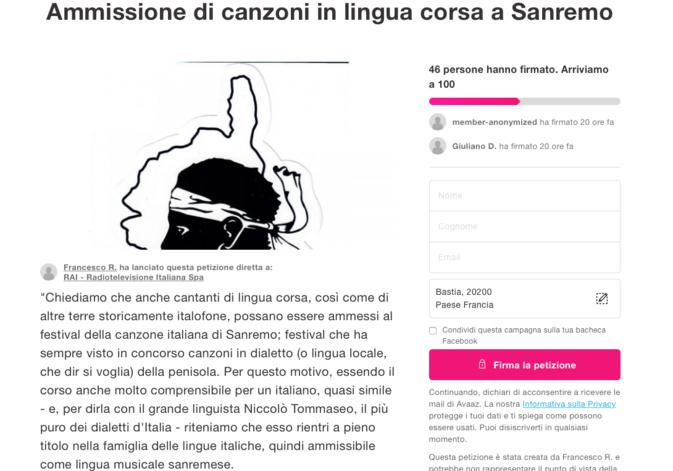 Pour que les chanteurs corses puissent participer au festival de Sanremo
