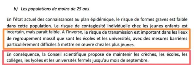 Deconfinement : Le conseil scientifique recommande le maintien de la fermeture des établissements scolaires