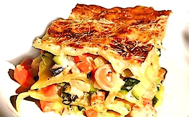 A table : lasagnes aux fruits de mer