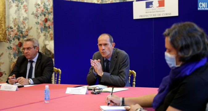 La conférence de presse de ce mardi en préfecture à Ajaccio. Images Michel Luccioni