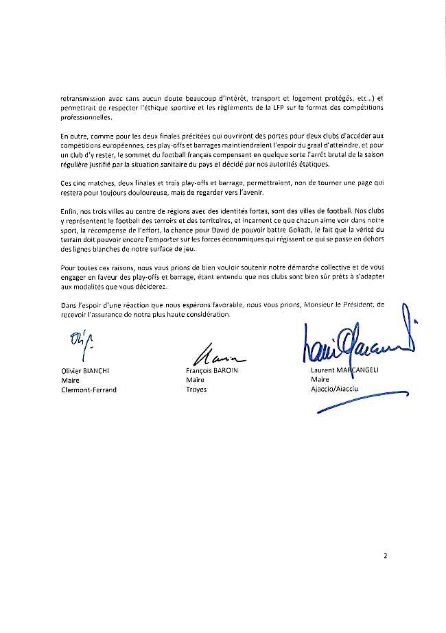 Plays-offs de Ligue 2  : Laurent Marcangeli s'associe aux maires de Troyes et Clermont-Ferrand