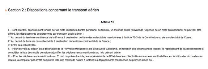 Un article 10 qui interpelle : on ne pourra pas voyager entre Corse et continent comme l'on veut