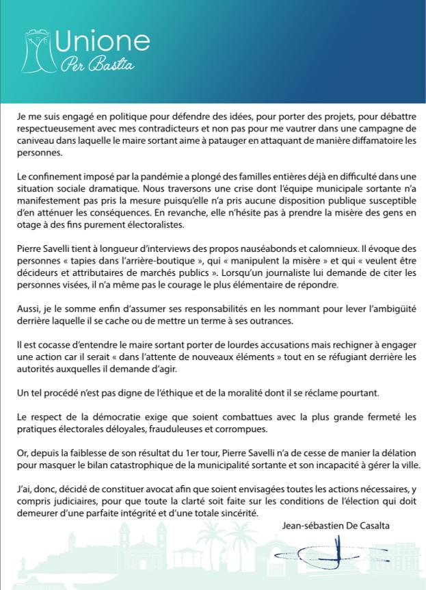 Municipales 2020 : à Bastia, J.-S. de Casalta menace de saisir la justice sur les conditions de l'élection