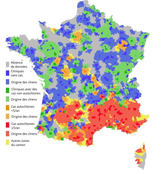 Carte répartition Leishmaniose sur le territoire.