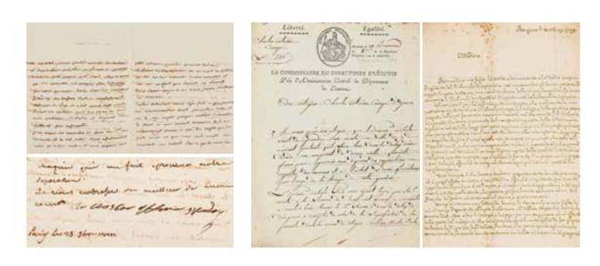 Lettre manuscrite de Laetitia Bonaparte en vente à Marseille ce 25 juin.