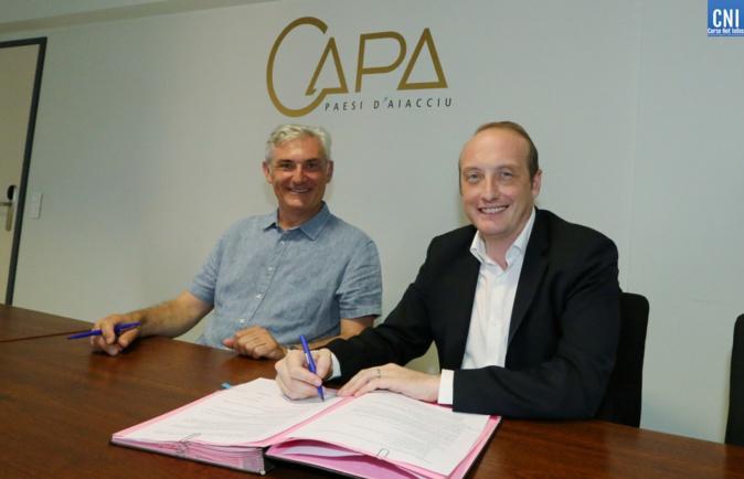 Laurent Marcangeli, président de la Communauté d'Agglomération Pays Ajaccien (CAPA) et Xavier Lacombe, maire de Peri. Photo Michel Luccioni