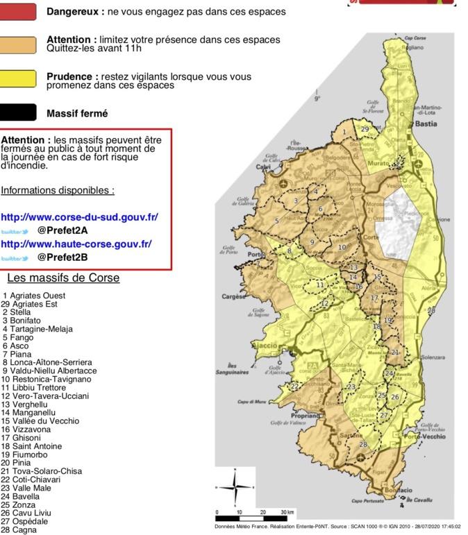 Risque incendie dans plusieurs massifs forestiers de Corse ce 29 juillet