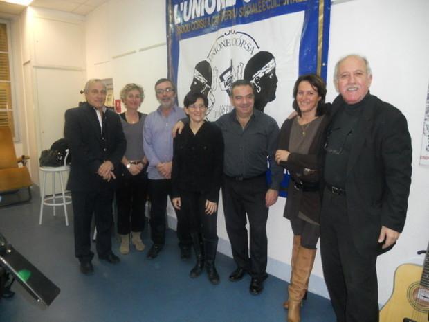 Le comité directeur de l'Unione Corsa d'Antibes avec Jeannot Magni à droite