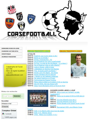 Nantu à a Tela Corsa : www.corsefootball.fr, memoria di u ballò corsu