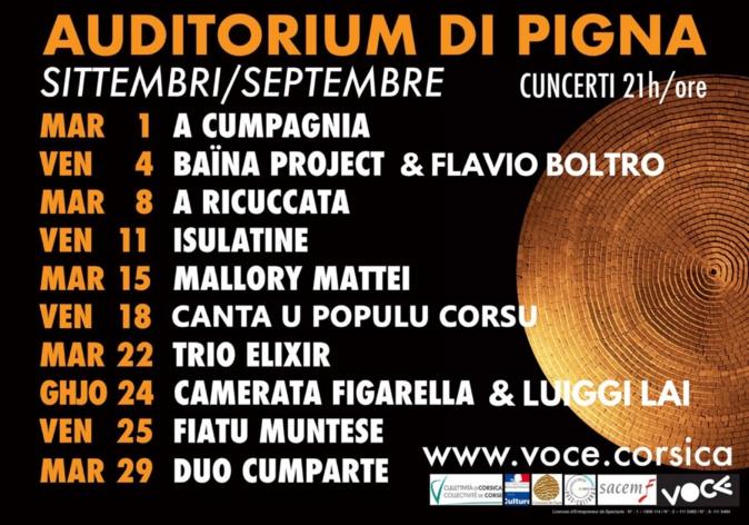 La programmation de l'auditorium de Pigna en septembre