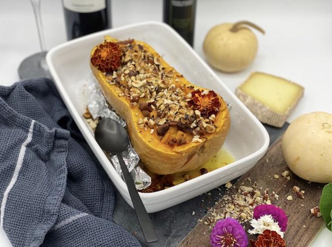 Butternut farcie, tomme corse, lardons de panzetta et noisettes avec... La petite cuisine de Marie