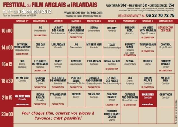 Programme et horaires de diffusion des films. (Repro: DR)