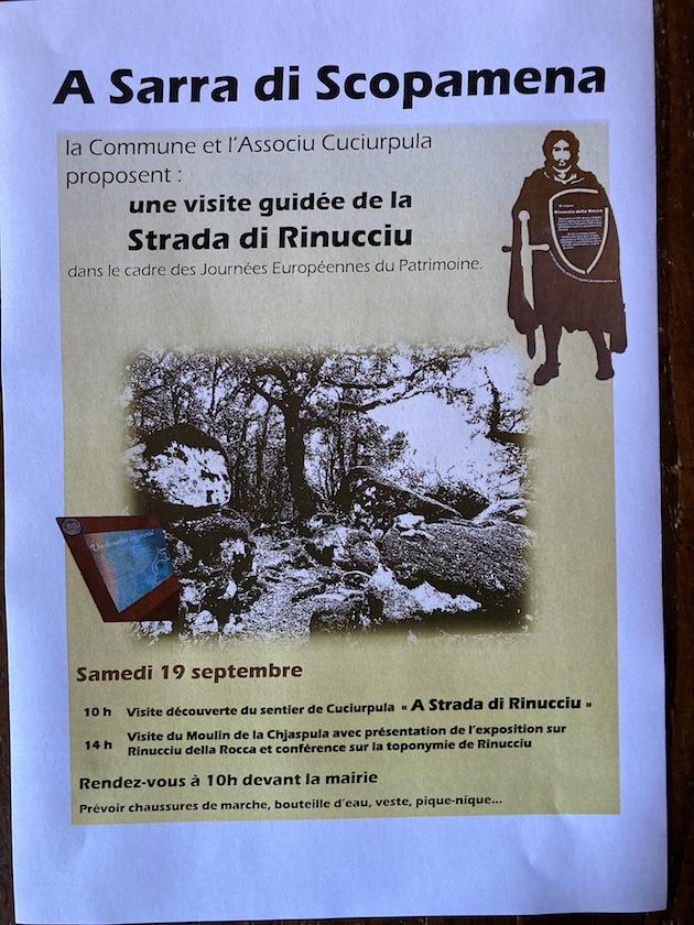 Les passionnés de nature, de patrimoine et d'histoire sont conviés ce samedi, à 10 heures, à la mairie de Serra di Scopamena