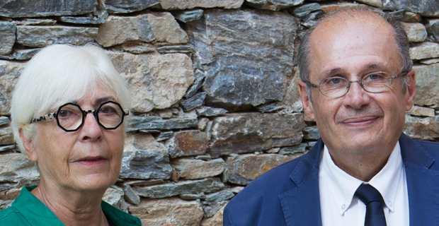 Philippe Peretti, adjoint au maire de Bastia, et sa suppléante, Marie Dominique Andréani, élue de Ficaja, candidats du PS aux élections sénatoriales de Haute-Corse, dimanche 27 septembre 2020. Photo Léa Eouzan.