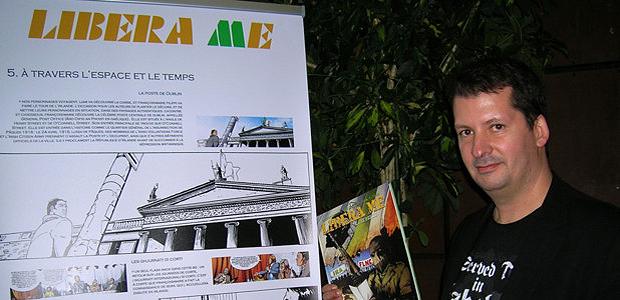 """Miceal O'Griafa a présenté la bande dessinée """"Libera Me"""" avec Frédéric Bertonchini lors du festival de la BD d'Ajaccio. (Photo: Yannis-Christophe Garcia)"""