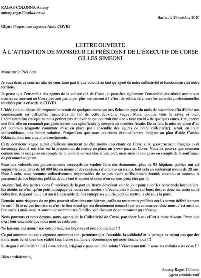 Covid-19 - Une cagnotte des agents de la Collectivité de Corse pour les entreprises en difficulté ?