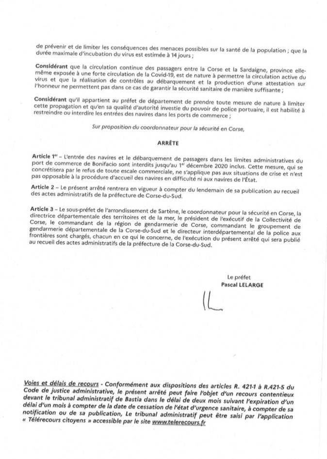 Confinement : Le préfet de Corse ferme le port de Bunifaziu jusqu'au 1er décembre