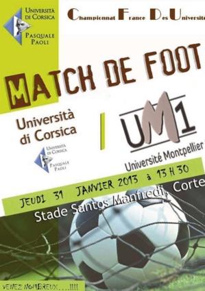 Football universitaire : Corse-Montpellier jeudi à Corte
