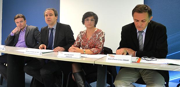 Jean-Louis Luciani, président de l'Odarc, Jean Zuccarelli, président de l'Adec, Mme Baldacci de la Direccte et Jean-Pierre Lilas de la Draaf