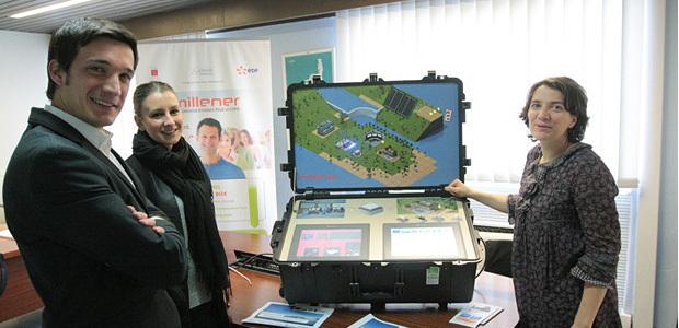 Marc-Antoine  Pierlovisi Chargé de Communication EDF, Laure Lambrot, responsable du projet, Marie Bacci, OEC
