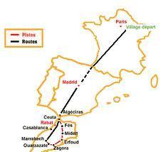 6000 km de parcours à travers la France, l'Espagne et le Maroc